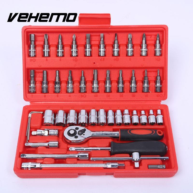 46PCS Car Repair Tool Combination Kits Spanner Socket Wrench Extension Bar
