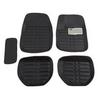 5pcs Black Auto Carpet Car Floor Pad Universal Premium Waterproof Front and Rear Vehicles Foot Pad