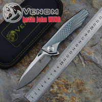 Kevin John VENENO Asa M390 Flipper faca dobrável rolamento de esferas de cerâmica de Titânio SÓLIDO camping caça bolso faca ferramentas EDC