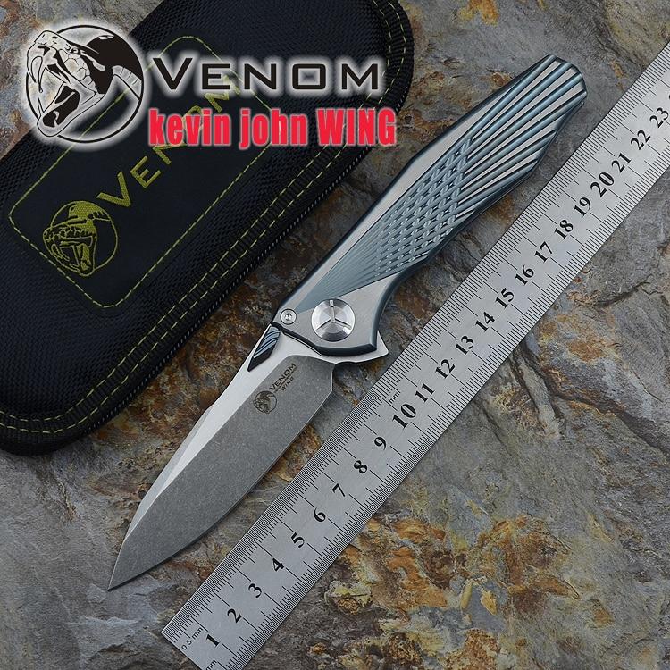 Kevin John VENOM Wing M390 SOLID Titanium Flipper folding knife ceramic ball bearing camping hunting pocket