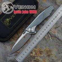 Кевин Джон VENOM крыло M390 одноцветное Титан Флиппер складной нож Керамический шарикоподшипник Отдых на природе Охота карманный нож EDC инструменты