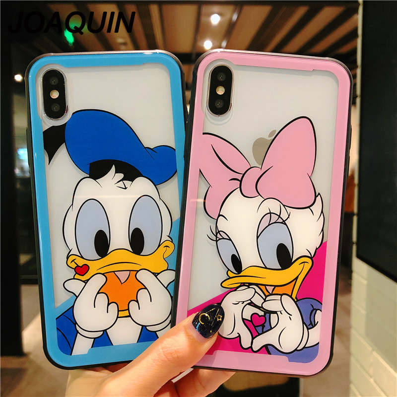 Cartoon Donald Daisy Duck Hollow Tempered Glass Soft Side Case for iPhone X XS Max XR Cases For iPhone 6 6S 7 8 Plus Covers Capa in Fitted Cases from Cellphones Telecommunications