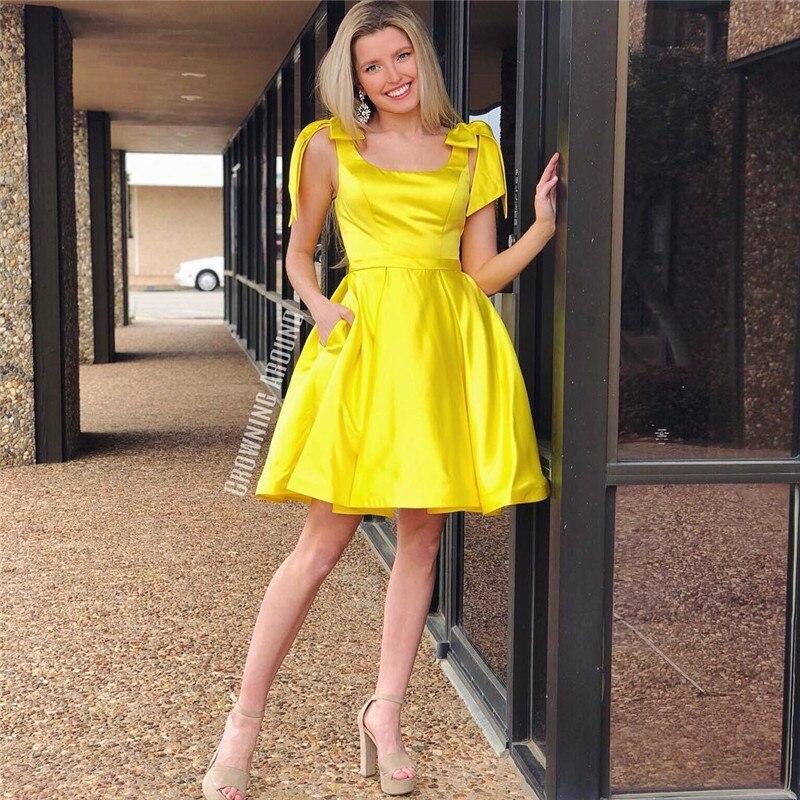 Bright Yellow Short   Prom     Dresses   With Pocket 2019 Sexy Scoop Neck Little Black Cocktail   Dress   Party For Women Vestido de Festa C