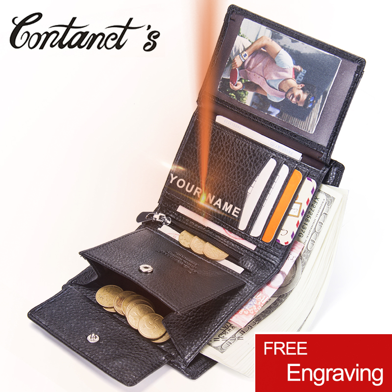 Contact's Fashion Short Wallets Genuine Leather Men Wallet Brand Design Purse With Coin Pocket Photo Holder Purses For Male men wallet male cowhide genuine leather purse money clutch card holder coin short crazy horse photo fashion 2017 male wallets