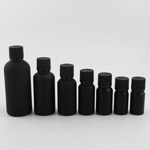 цена на 100ml 50ml 30ml 20ml 15ml 10ml Frost Black Essential Oil Bottle With Tamper Evident Cap 1oz Cosmetic Containers 12PCS