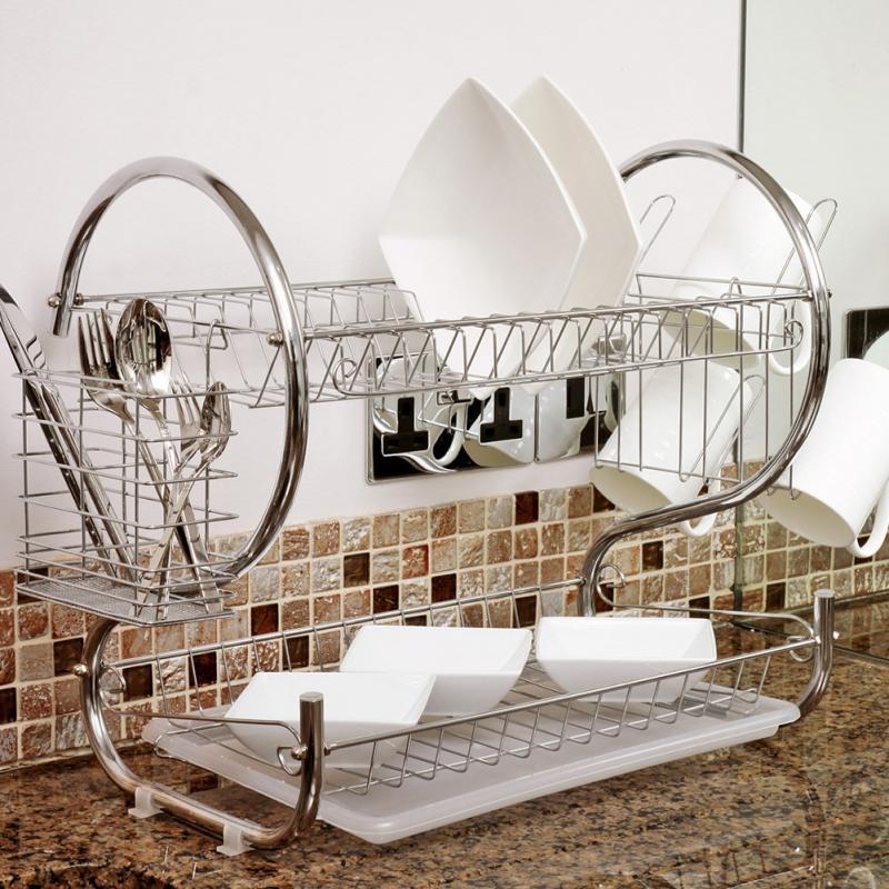 2 Tier Iron Chrome Multifunction Bowl Plate Dish Cup Cutler Drainer Storage Shelf Rack Organizer Holder for Kitchen Storage Tool