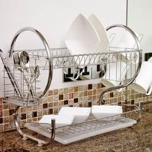 2 Tier Iron Chrome Multifunction Bowl Plate Dish Cup Cutler Drainer Storage Shelf Rack Organizer Holder for Kitchen Storage Tool(China)