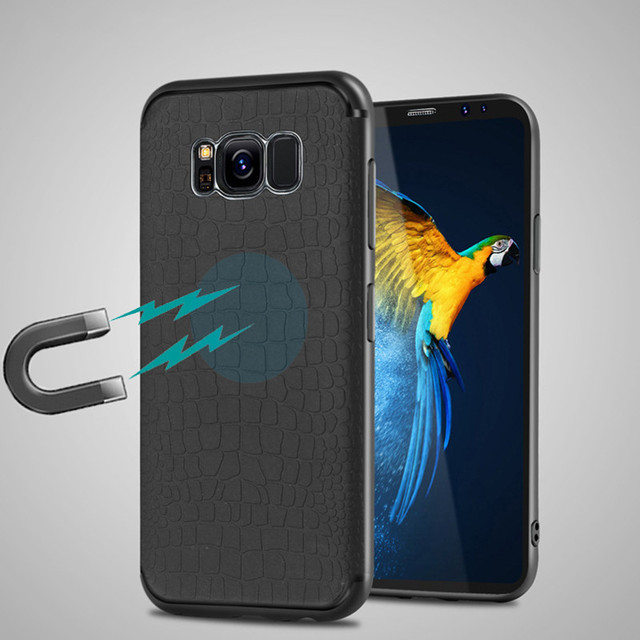 best sneakers 3639e 8fa45 US $1.91 29% OFF|YiKELO Ultra thin Black Magnetic Case for Samsung S8 Plus  A3 A5 A7 J3 J5 J7 2017 Cases Soft TPU Cover Magnet Car Phone Holder-in ...