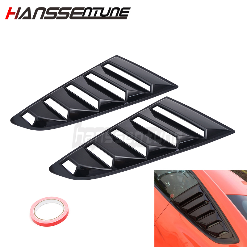 1 Pair OE Style Side Black Window Louvers Left & Right Side Fits For <font><b>Mustang</b></font> <font><b>2015</b></font>-2018 image