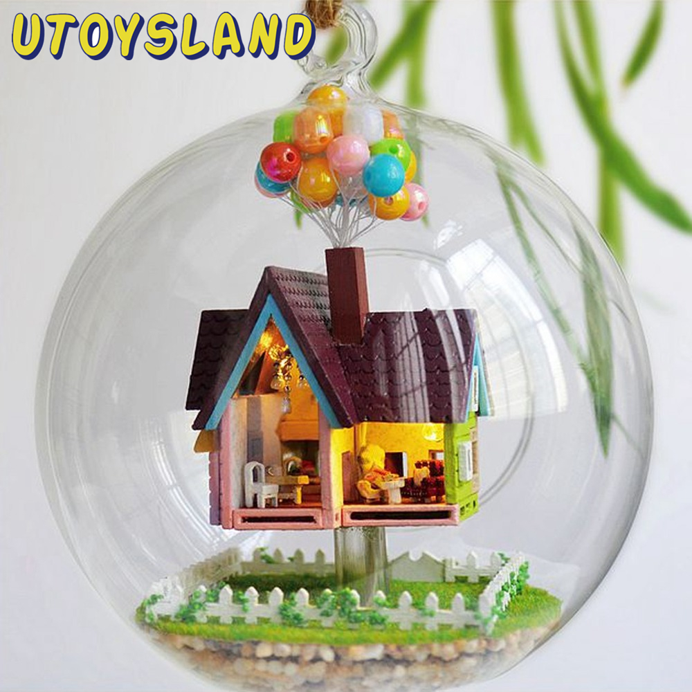 Miniature crystal ornaments - Utoysland Miniature Diy Wooden Up The Movie Inspired 3d Toy Doll House Voice Control Led Light
