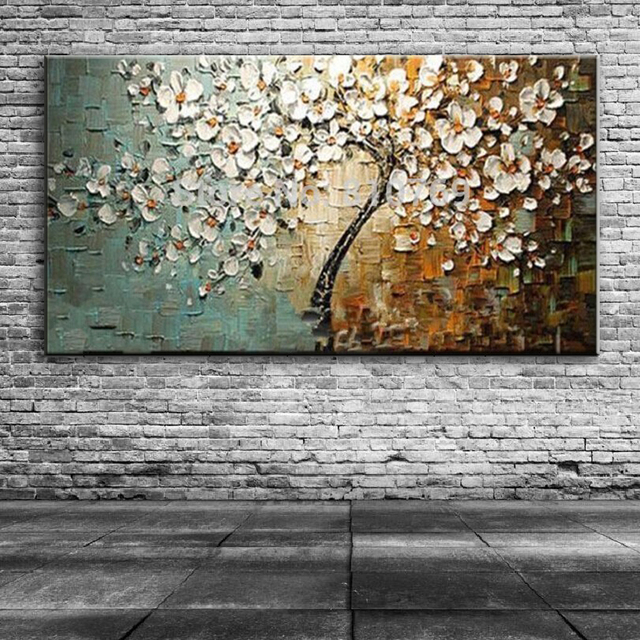 Tree 3D Flowers Canvas Oil Painting