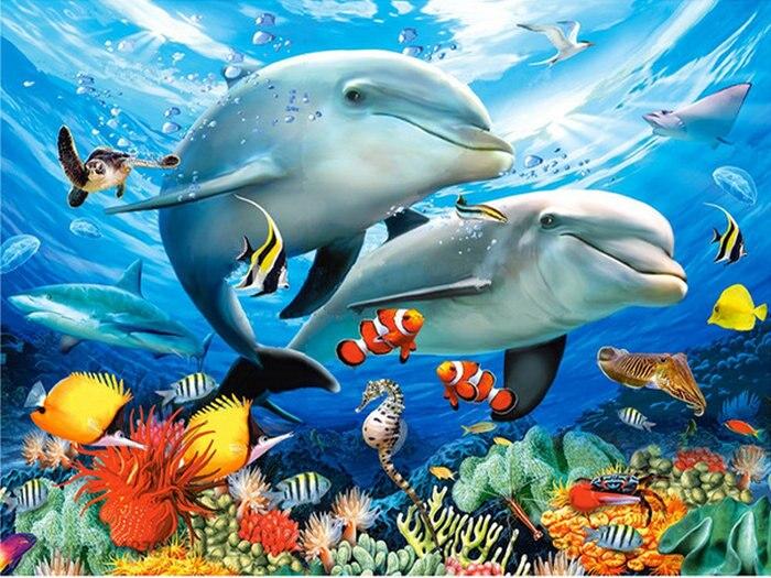 Diamond Embroidery Undersea scenery 5D DIY Diamond Painting dolphin picture rhinestone Round Full Diamond Mosaic Cross Stitch