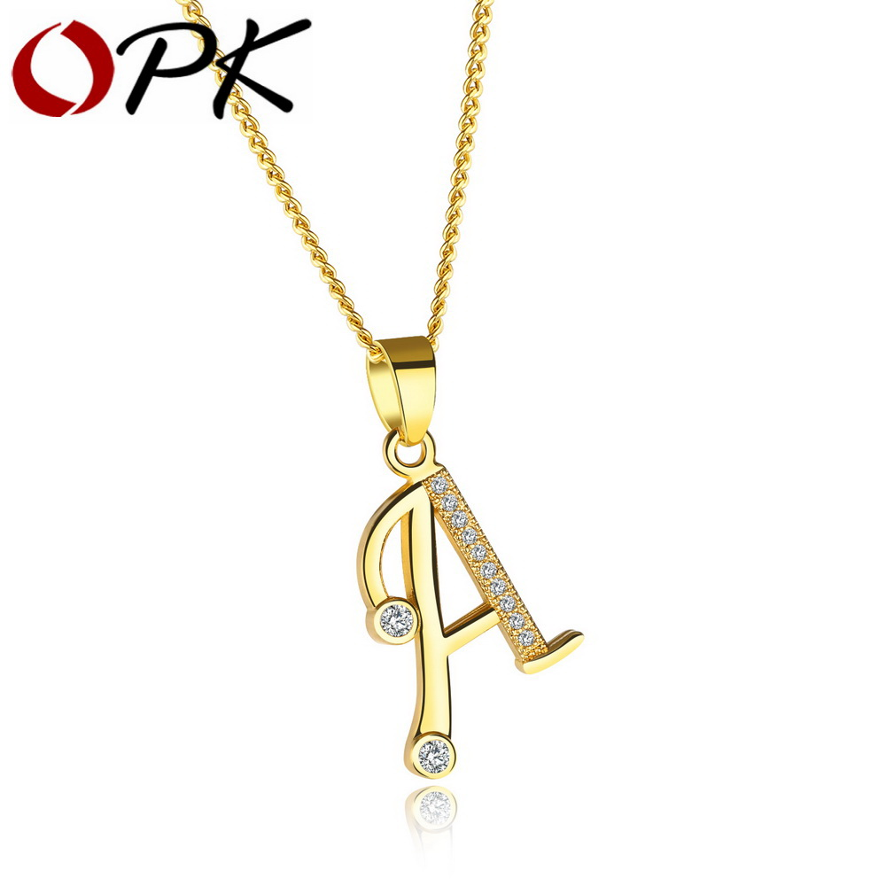 opk alphabet a z letter necklace for women initial name pendant pave zirconia gold color female