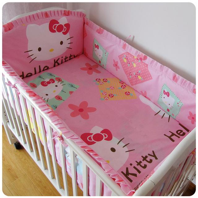 Promoção! 6 PCS olá Kitty 100% algodão berço cama conjunto, Bebê pára ( bumpers folha + travesseiro )