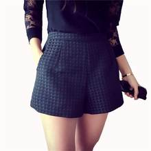 Sexy Hoge Taille Vrouwen Shorts 2018 Nieuwe Zomer Plaid Een Lijn Fashion Casual Loose Solid Koreaanse Stijl Vrouwen Shorts Plus size()