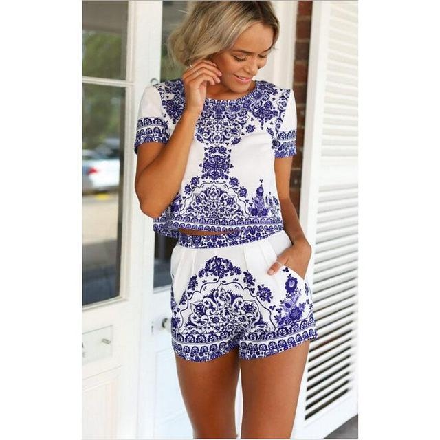 f8d1e7b12c5 Vintage 2 piece Set Women Porcelain Print Shorts and Crop Top Set Summer  Style Elastic Waist Pockets Pants Twin Women s Set Blue