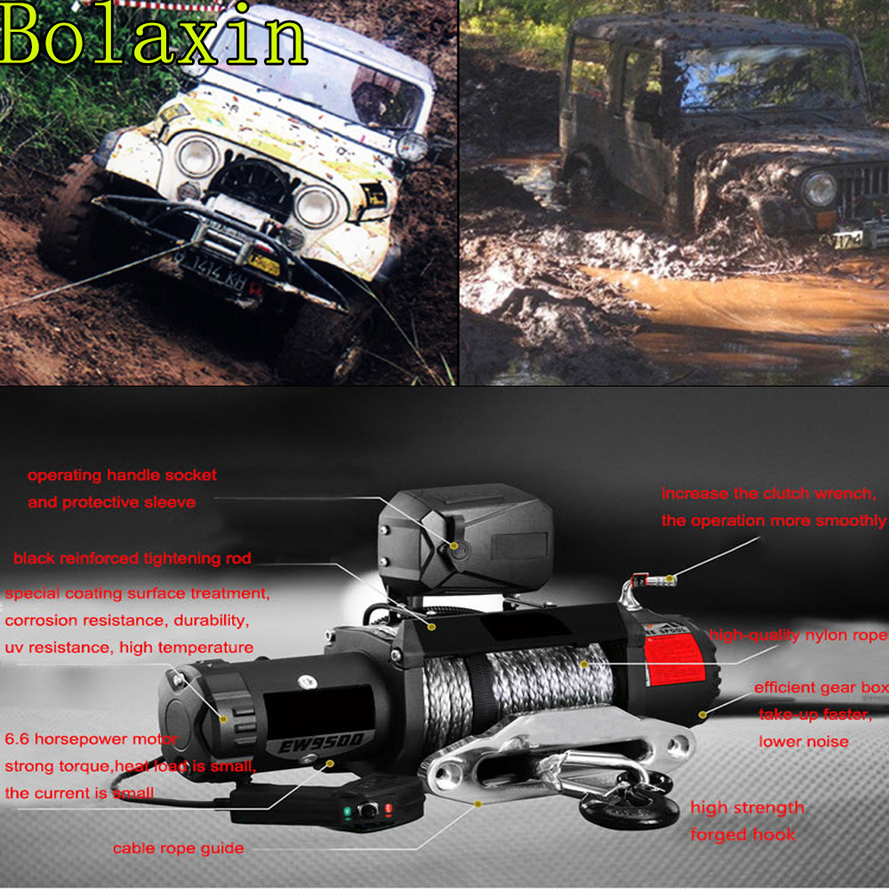 Bolaxin High Speed 125000lbs +Big 6 6HP Motor Winch With Torque Limited  Protector ,Clutch, Synthetic Rope for Jeep Track SUV