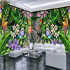 Beibehang Custom Wallpaper Large Mural Hand Painted Tropical Plant Bird Cartoon American Style Wall Wallpaper Papel