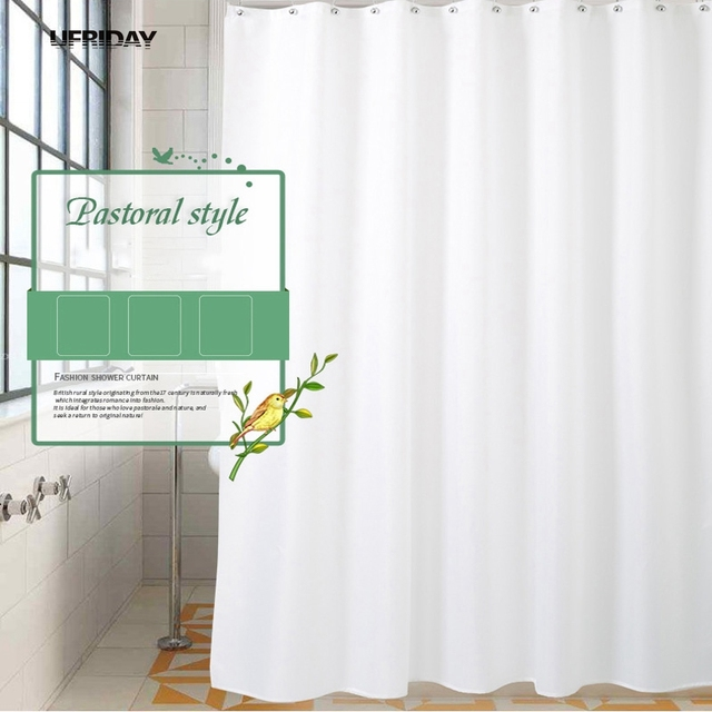 Ufriday High Quality White Shower Curtains Modern Bath Curtain Bathroom Waterproof Screen Hotel