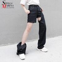 New 2019 Korean Style Black Plaid Long Pants Legs Connected By Buckle Female Unique Multi Way Pants Casual Trousers Femme J623