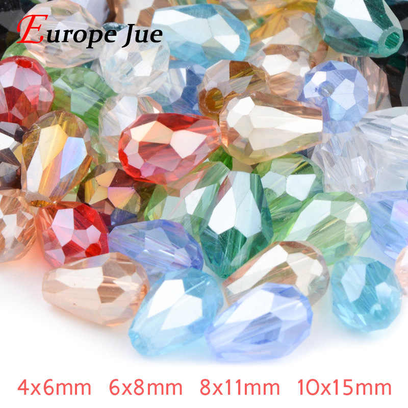 Briolette Pendant Waterdrop Austrian crystal beads 4*6mm 6*8mm 8*11mm 10*15mm Teardrop glass Loose bead for bracelet DIY