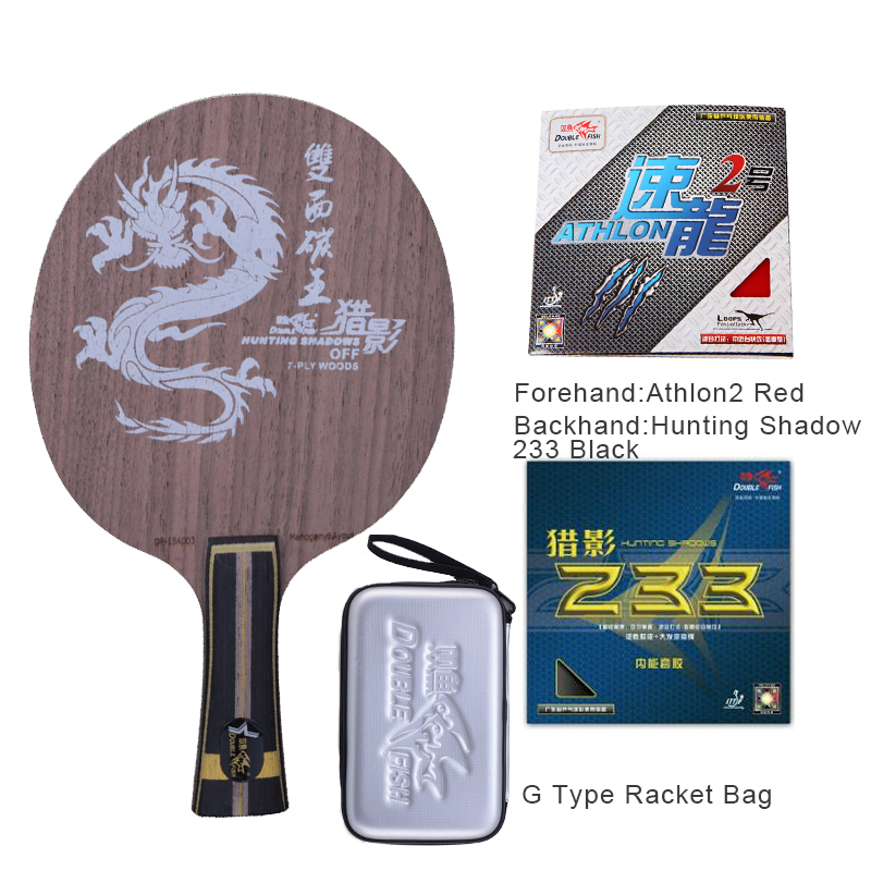 Double fish Dual Carbon fiber KING 7-PLY offensive professional long handle table tennis racket paddle with 2 rubbers and a bag quality broken wind chinese dragon badminton rackets carbon fiber professional offensive racquets single racket q1013cmk
