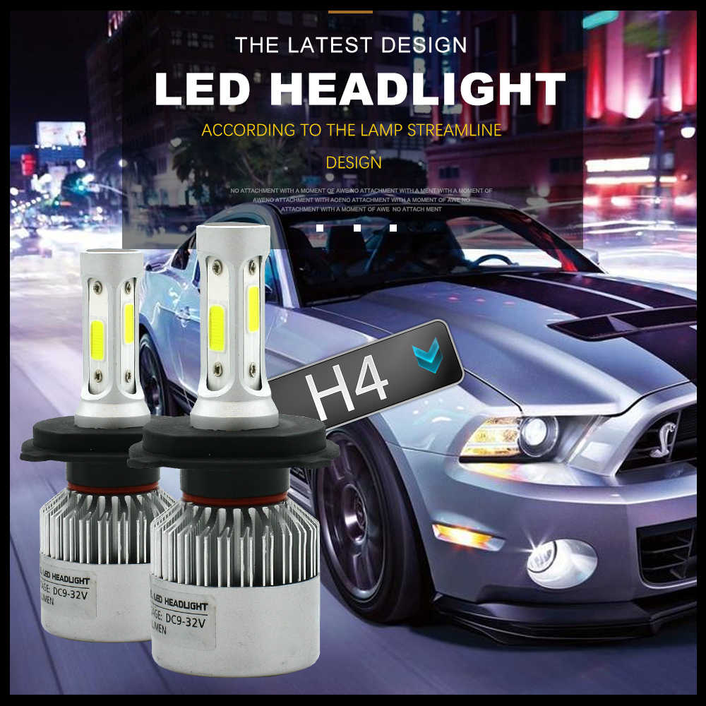 Modifygt S2 H7 LED COB H4 H11 H1 9005 9006 72W 8000LM 6000K 12v Car LED Headlight Bulbs Hi-Lo Beam Auto Headlamp car accessories