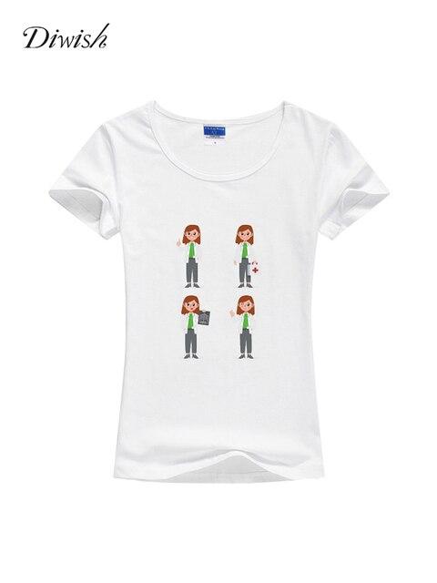 Diwish Womens T Shirt Tops Casual Summer Short Sleeve Tshirt Plain Cartoon Printed Tshirt Slim Fit Summer Tops for Women 2019