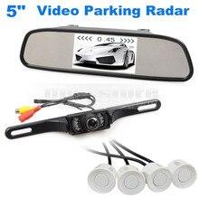 DIYKIT 5 Дюймов Заднего Вида Автомобиля Зеркало Монитор Kit + Видео парковочный Радар + ИК Заднего Вида Автомобиля Система Помощи При Парковке Камеры