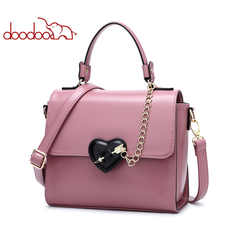 DOODOO Women Leather Handbag Tote Bag Female Shoulder Crossbody Bags Ladies Artificial Leather Top-handle Bag Chain Heart-shaped heart shaped decor star chain bag
