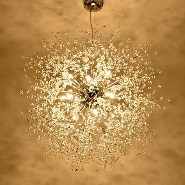 Modern Dandelion Led Ceiling Light Clear Crystal Lamp For Kitchen Bedroom Living Room Foyer Elegant