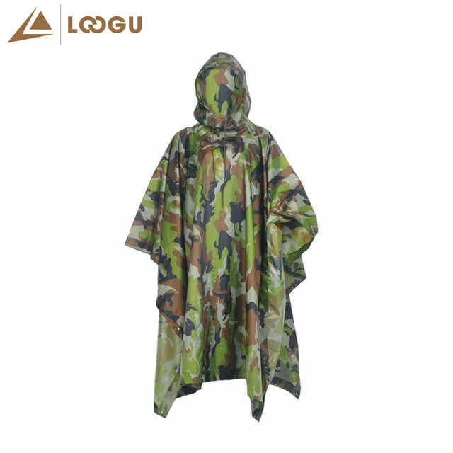 f7ddfc0d76555 Military Woodland Camo Poncho Ligthweight Multifunctional Outdoor Sport Raincoat  Waterproof Raincover Climbing Camping Hiking