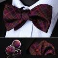 Pocket Square Classic Wedding Party BZC02T Púrpura Marrón Hombres de Verificación de Seda Auto Pajarita pañuelo Gemelos set