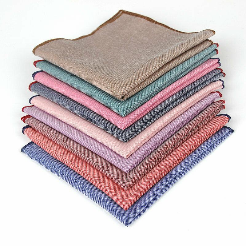 Men Solid Blue Pink Cotton Pocket Square Handkerchief Wedding Hanky NEW YFTIE0013