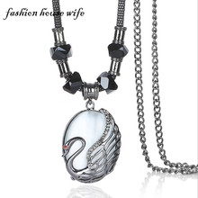 Fashion House Wife Charm Stone Swan Long Pendant Necklace Women Rhinestone Statement Maxi Necklace Chain Jewelry Gift LN0082