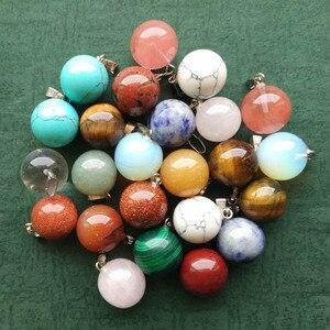 Image 2 - 도매 50 개/몫 패션 베스트 셀러 모듬 천연 돌 둥근 공 모양의 매력 펜던트는 무료 만들기 목걸이에 맞게