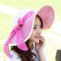 Kesebi 2017 Nueva Caliente de La Manera Mujeres Del Verano Del Resorte Coreano Playa Arco del sombrero Del Sol Sombreros de Punto Femenino de Rayas Tejido de Punto Ocasional Clásico sombrero