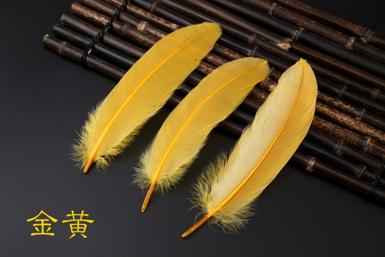 480Pcs DIY Natural Goose Feathers For Home Decor Earrings Jewelry Clothing Accessories Gold Yellow color dyed 15-20cm