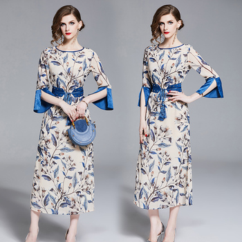 Long Soft Loose Collect Waist Printed Female Dress