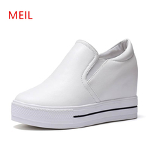 White Shoes Woman Sneakers Wedges Height Increasing Womens Trainers Women Casual Platform Shoes Fashion High Heels Zapatos Mujer 8 cm heels white women platform sneakers casual wedges shoes for women white shoes woman plataforma sneaker zapatos de mujer