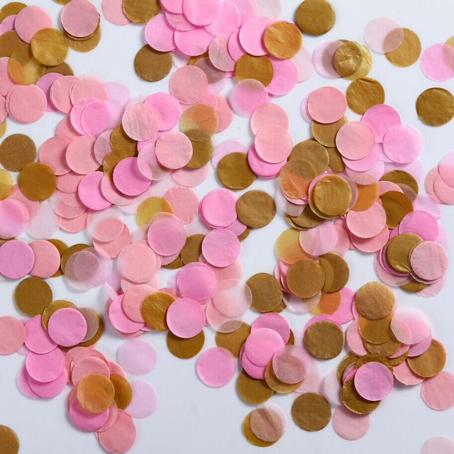 2 inch pink and gold party decoration throwing baby bridal shower wedding paper confetti