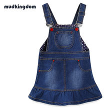 Mudkingdom Toddler Girls Striped Denim Dress Suspenders Kids Baby Girl Waistcoats Jumper Skir Children Winter Dresses Fall 2017