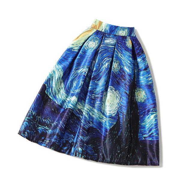 2016 Mujeres del Otoño Azul Van Gogh Pintura Al Óleo de La Falda Señoras de La Cintura Elástico vestido de Bola Midi Faldas Saias Femininas