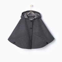 Eveerweekend Filles Laine Blend Hoodie Capes Poncho Gris Couleur Chauve-Souris Manches Poches Mode Automne Vestes Outwears