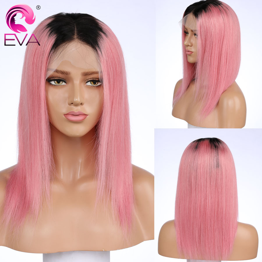 T1/Pink Color Lace Front Human Hair Wigs With Baby Hair Pre Plucked Brazilian Blonde Straight Lace Front Bob Wig Remy Hair Wigs