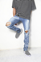 Spray Paint Distressed Biker Jeans New Arrival Zipped Ankle Skinny Fit Ripped Stretch Jeans Free Shipping