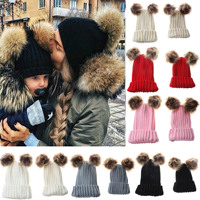 Family Look Mommy Baby Double Ball Knitted Children S Hats For Boys Girls Toddlers Knitting Caps