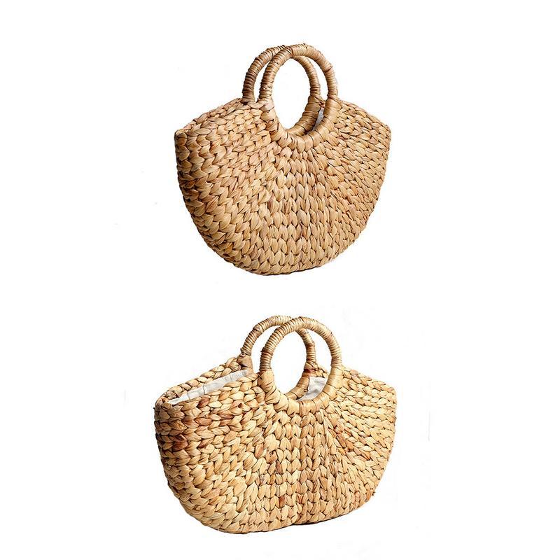 Hand-Woven Semi-circle Straw Bag Round Rattan Woven Picnic Storage Totes Travel Outdoor Handbag Fashion Women Cases Box Bags