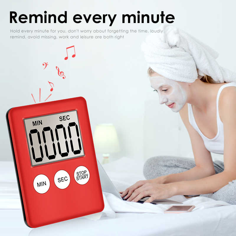 Супер тонкий цифровой Экран LCD кухонный таймер квадратный Пособия по кулинарии отсчет таймер обратного будильник обратный отсчет будильник Temporizador часы челнока