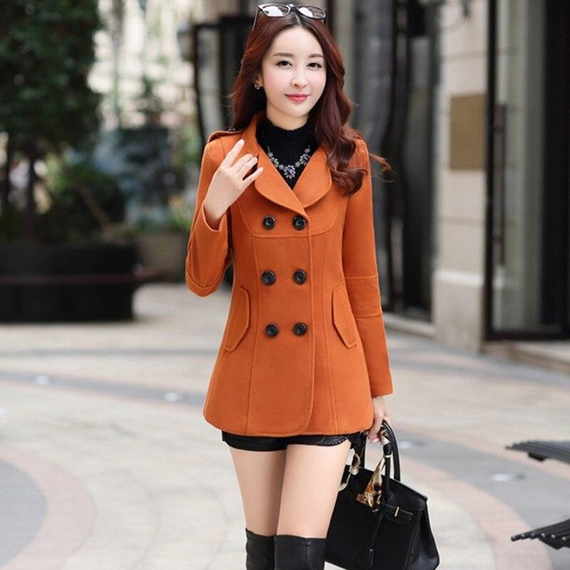 UHYTGF модная зимняя куртка женская двубортная короткая шерстяная куртка однотонная Корейская тонкая женская шерстяная куртка большого разм...
